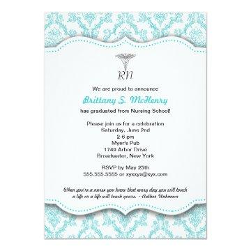 Caduceus Turquoise Nursing school graduation RN Card