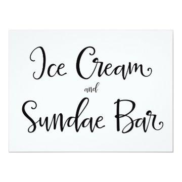 "Calligraphy | ""Ice Cream and Sundae Bar"" Sign Card"