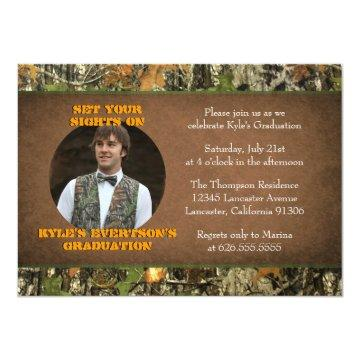 Camo Graduation Photo Invitations