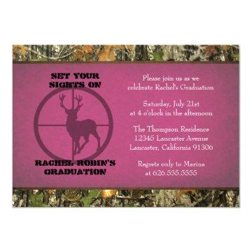 Camo Hot Pink Graduation Invitations