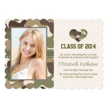 CAMOUFLAGE HEART GRADUATION PHOTO ANNOUNCEMENT