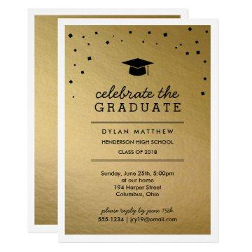 Cap and Confetti Gold Graduation Invitation