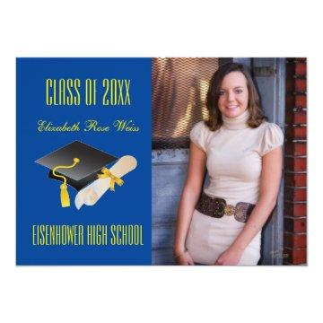 Cap & Diploma Blue - Graduation Announcement