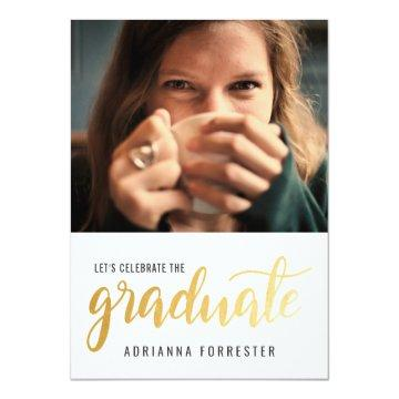 Casual Graduate Gold Typography Photo Card