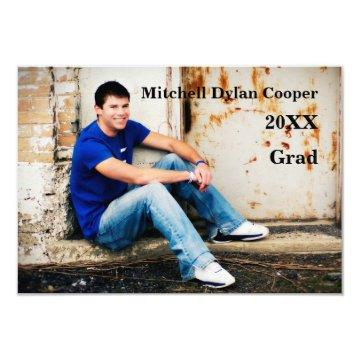 Casual Grunge  - 3x5 Graduation Announcement