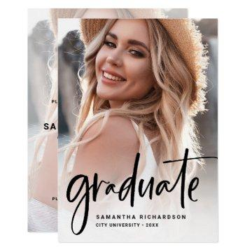 Casual Script Black | Two Photo Graduation Party Invitation