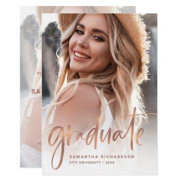 Casual Script Rose Gold Two Photo Graduation Party Invitation