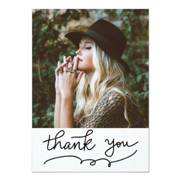 Casual Thank You Typography Script Graduate Photo Card