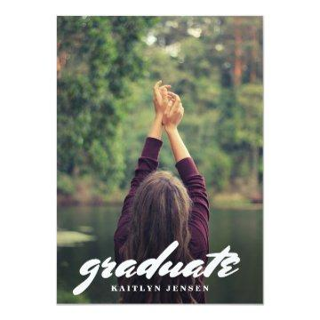 Casual Typography Graduate Photo Card