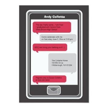 Cell Phone Texting Graduation Invitation