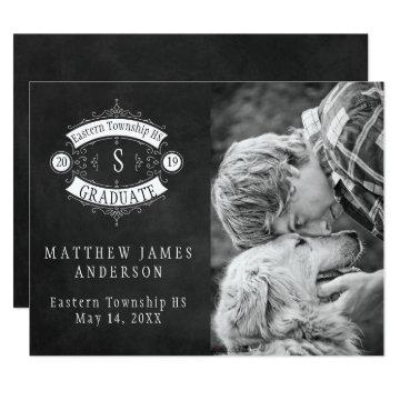 Chalkboard Art Deco Frame Photo Graduation Card