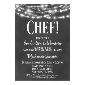 Chalkboard Culinary Graduation Party Invitation