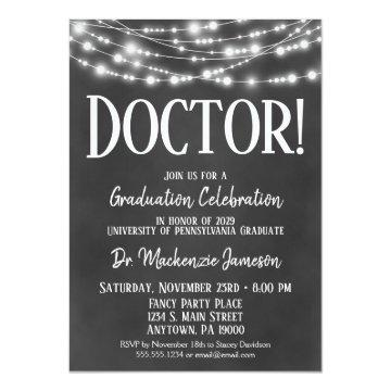 Chalkboard Doctor Graduation Party Invitation
