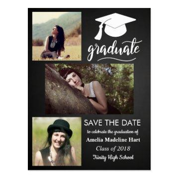 Chalkboard Graduate | Save The Date Three Photo Postcard