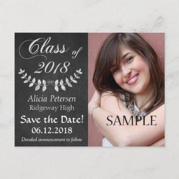 Chalkboard Laurel Leaf Save the Date Graduation Announcement Postcard