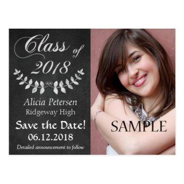 Chalkboard Laurel Leaf Save the Date Graduation Postcard