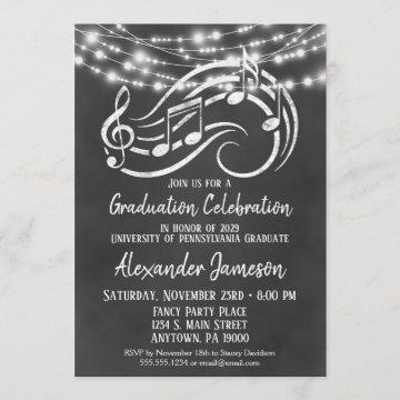 Chalkboard Music Graduation Party Invitation