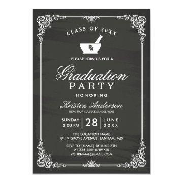 Chalkboard Pharmacy School Graduation Party Invitation