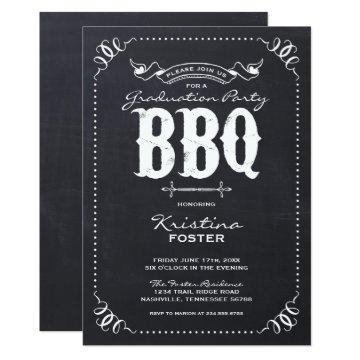 Chalkboard Rustic Vintage Graduation Party BBQ Invitation