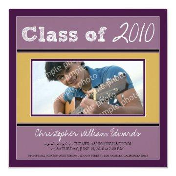 Chalkboard Sketch Graduation Announcement (purple)