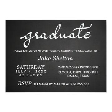 Chalkboard Typography Open House Graduation Invitations