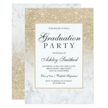 Champagne glitter elegant marble Graduation party Invitation