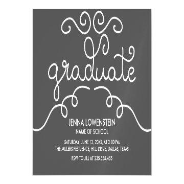 Charcoal Simple Casual Graduate Typography Magnetic Card
