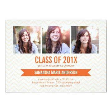 Chevron 3 Photo Graduation Invitation - Orange