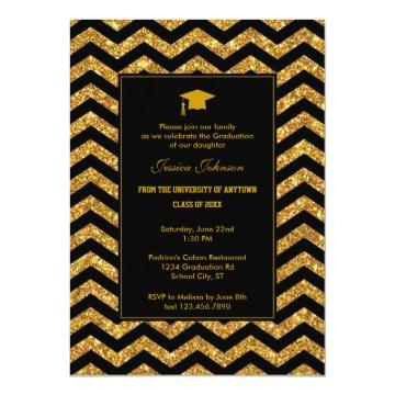 Chevron and Glitter Graduation Invitation