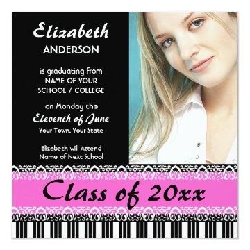 Chic Black and Hot Pink Graduation Announcement