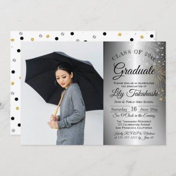 Chic Confetti Photo Graduation Announcement Party
