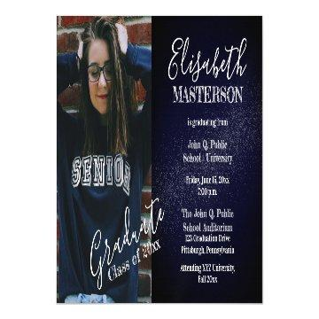 Chic Dark Blue Photo Graduation Announcement