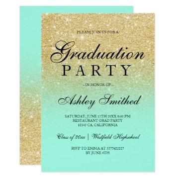 Chic faux gold glitter mint green Graduation party Invitation