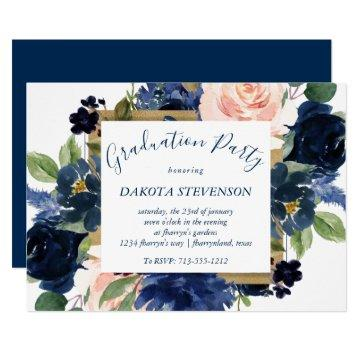 Chic Floral | Romantic Blush Navy Blue Graduation Invitation