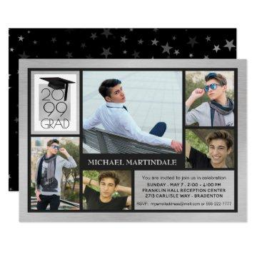 Chic GRAD Cap & Year | Brushed Silver | 5-Photo Invitation