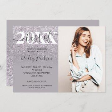 Chic lilac purple glitter ombre photo graduation invitation