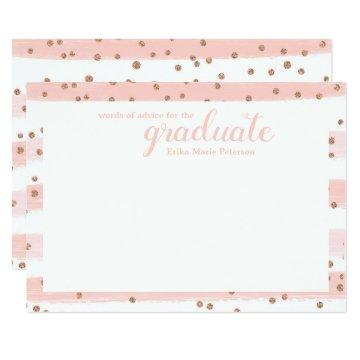 Chic Pink & Gold Words of Advice Graduation Cards