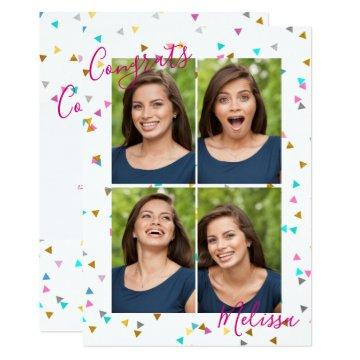 Chic Rainbow Confetti Graduation Photo Invitations