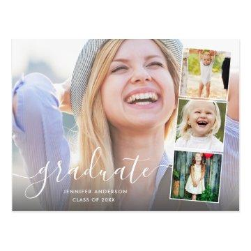 Chic Script 4 Photo Collage Graduation Party Postcard