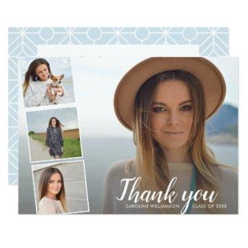 Chic Script 4 Photo Collage Graduation Thank You Invitation