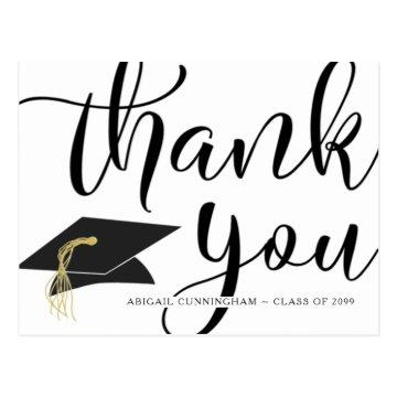 Chic Script Black and White Graduation Thank You Postcard