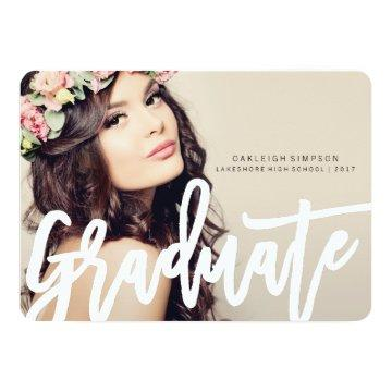 Chic Typography Graduation Annoucement Card