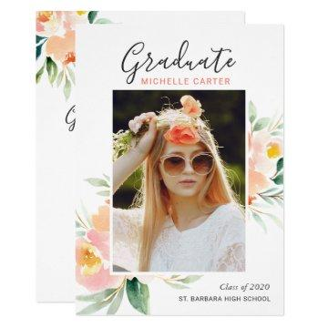Chic Watercolor Floral Photo Graduation Party Invitation