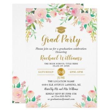 Chic Watercolor Floral Pink Gold Graduation Party Invitation