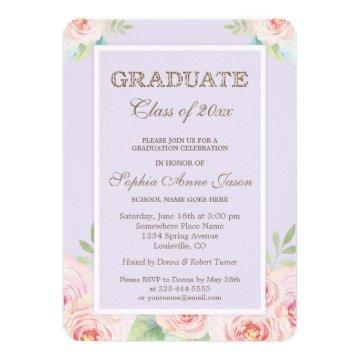 Chic Watercolor Flowers Graduation Party Invite