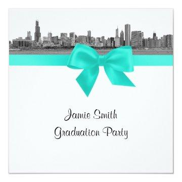 Chicago Skyline Etched BW Aqua SQ Graduation Party Invitations