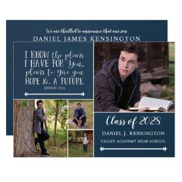 Christian Bible Verse Graduation Photo Collage Invitation