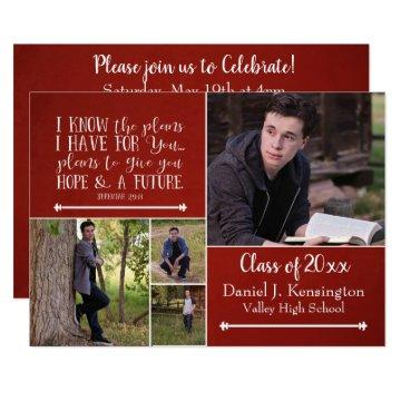 Christian Bible Verse Graduation Photo Collage Red Invitation