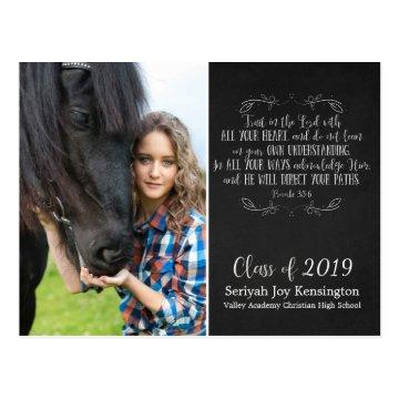 Christian Graduation Bible Verse | Chalkboard Postcard