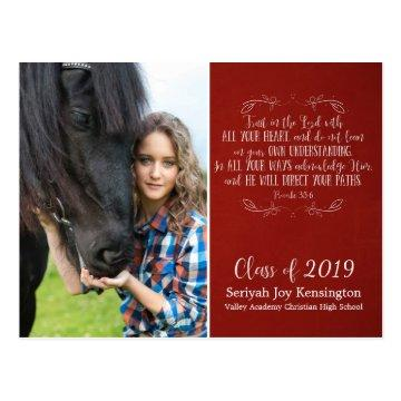 Christian Graduation Bible Verse | Rustic Red Postcard